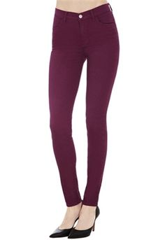 J Brand Maria High Rise Skinny Jeans in Loganberry | ShopAmbience