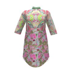 Named Clothing Helmi Tunic Dress made with Spoonflower designs on Sprout Patterns. By Floramoondesigns and Greenlotus