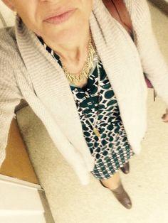 Stitchfix dress; long cozy sweater. Long boots