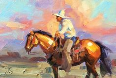 COWBOY, HORSE, SUNSET, WESTERN ART by TOM BROWN -- Tom Brown