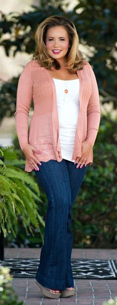 Perfectly Priscilla Boutique - Breath Of Fresh Air Cardigan - Dusty Coral, $28.00 (www.perfectlypris...)