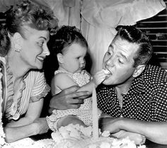 Lucy and Desi celebrating daughter Lucie's first Birthday