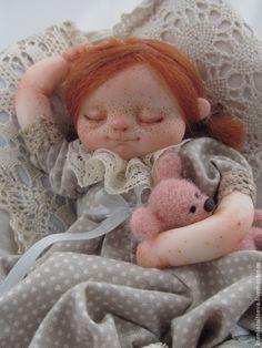 """Купить """"Сплюшечка Мими"""" - коллекционная кукла, авторская кукла, куклы ксении зайцевой, спящая девочка"""