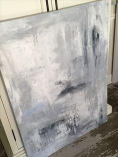 48 by 36. Acrylic on heavy duty canvas. neutral. Grey. Abstract. Texture