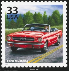 On September 3, 1999, the United States Postal Service unveiled the Mustang stamp as a part of its Celebrate the Century series. The 33-cent stamp featured a 1965 red Mustang convertible and was one of a total of 150 stamps featuring important events from the US in the 20th century.
