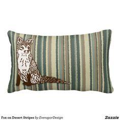 Fox on Desert Stripes Throw Pillow
