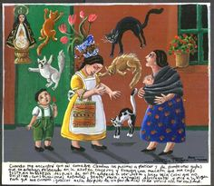 Mexican Ex Voto paintings used to be rather crude paintings that usually showed a patient on a hospital bed with a saint or Catholic deity floating above and offering live-giving grace. (They were painted to give thanks for recovery.)  Now, they've become a bit more fanciful and sophisticated.  But still there is usually divine intervention, as in this image (found on ebay) of the Virgen de Zapopan halting a cat fight.