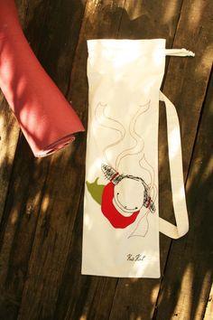 Natural colored Yoga mat bag 'Poissondrieke', #French #bread #bag, #gym bag, #beach bag reusable multifunctional by kuskatdesigns #yoga #mat #eco-friendly #mermaid #swimming