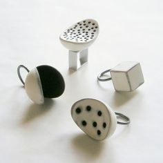 Romi Bukovec - painted, sanded and stained wood, silver rings