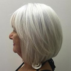 Long Gray Bob With Bangs For Year Olds , , # silver, , Bob With Bangs, Haircuts With Bangs, Cool Haircuts, Cool Hairstyles, Hairdos, Layered Haircuts, Beautiful Haircuts, Medium Hair Styles, Short Hair Styles