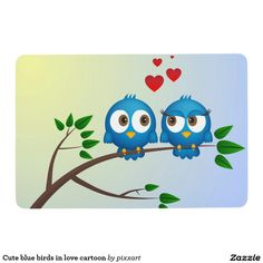 Cute blue birds in love cartoon floor mat