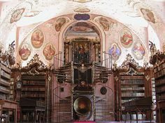 The library at Vorau Abbey in Styria, Austria. The library was built in 1730 and holds 17,000 volumes in the main hall plus another 20,000 books in other rooms.