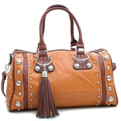 Made of leatherlike material- Dual shoulder straps drop length 7.5″- Top zippered opening- Silver tone hardware, studded decoration- Back zippered pocket- Large main compartment- Fully lined interior with side zippered pocket, ceMaterial: Faux Leather | Shop this product here: http://spreesy.com/LadybugHouseGiftsandBags/28 | Shop all of our products at http://spreesy.com/LadybugHouseGiftsandBags    | Pinterest selling powered by Spreesy.com
