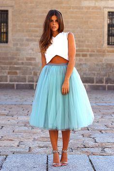 falda tul azul cielo