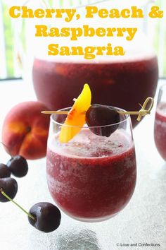 Cherry, Peach & Raspberry Sangria from Love and Confections!
