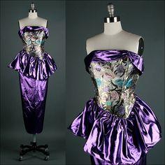 Vintage 1980s Dress  Purple Metallic  by millstreetvintage on Etsy, $75.00