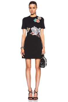 Carven Applique Jersey Dress in Noir