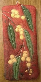 Golden Wattle Half-felt inlays, machine embroidered, lined in silk Glasses case Melody Cooper Magic Wand Department