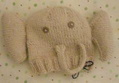 Hand Knit Angora Newborn Elephant Hat by NantucketKnitter on Etsy