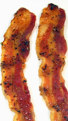 Baked Maple Dijon Glazed Bacon - Now, I have not tried this yet, but this does sound amazing. Bake it in the oven; perfect flat pieces... adding sweet (the Maple) and savory (The Dijon Mustard) to it to have something that I'm pretty sure will be orgasmic on so many levels.
