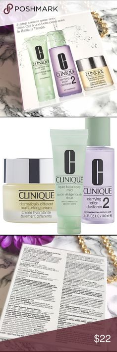 🌱CLINIQUE Dramatically Different Moisturizing Kit 🍃CLINIQUE Dramatically Different Moisturizing Intro Kit. 🍃Customized to give combination to dry skin exactly what it needs to get beautiful skin. This set includes Mild Liquid Facial Soap and Clarifying Lotion 2. It also contains Clinique's Dramatically Different Moisturizing Cream, a rich cream that relieves dry skin and deeply hydrates. $59 Value  Liquid Facial Soap Mild (1.7 oz) Clarifying Lotion 2 (3.4 oz) Dramatically Different…