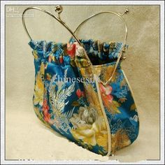 Women Cheap Evening Bag Handbags Silk Fabric Metal Clasp Hand Bags Purse 5pcs/lot mix color Free