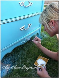 Tiffany Blue Dresser Makeover