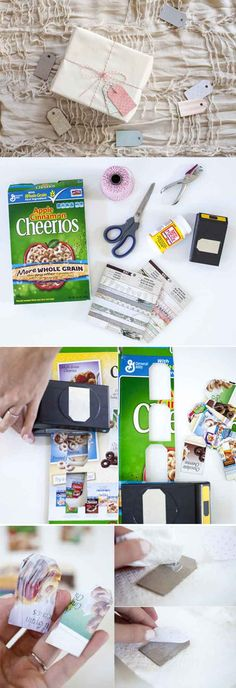 Repurposed DIY Gift Tags from Cereal Boxes | https://diyprojects.com/28-things-you-can-make-from-cereal-boxes/