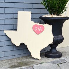 "Wooden State Texas -24"" Distressed Ivory - Any State/country Available - Many…"