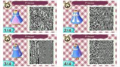 Simple Princess dress qr codes for Animal Crossing new leaf. visit peanutfashions.tumblr.com for full resolution codes.