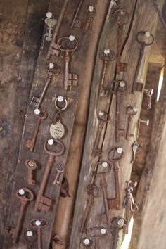 In a NYC flea market, this collection of antique keys would run about $100. But these are in a tree house in France... love it.