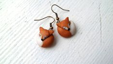 sleeping FOX Earrings by Raquel at theWRC hand sculpted polymer clay