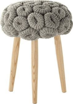Knitted Rings Grey Stool by Gandia Blasco