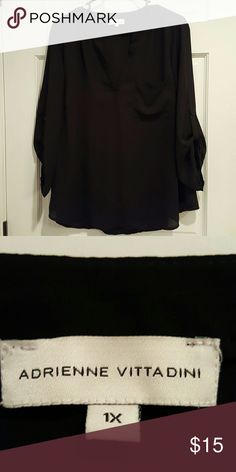 Black sheer top Cute with jeans or dressy pants/skirt. Worn once. Adrienne Vittadini Tops