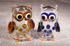 Hand Blown Glass Owl Salt and Pepper Shakers by FiammaArtGlass, $40.00