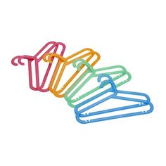 IKEA - BAGIS, Children's coat-hanger, assorted colours mixed colours, The plastic is flexible to minimise the risk of breaking. Trouser hanger, skirt hanger and shirt hanger in one. Childrens Coat Hangers, Baby Clothes Hangers, Trouser Hangers, Skirt Hangers, Kid Toy Storage, Small Storage, Linen Storage, Storage Boxes, Ikea Hangers