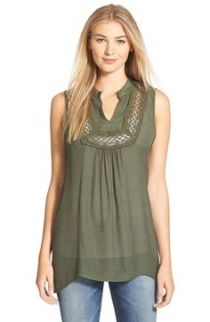 Bobeau Crochet Inset Sleeveless Top available at #Nordstrom