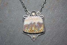 Prudent Man Plume Agate Stone Sterling Sliver by Zenergy Jewelry, $385.00