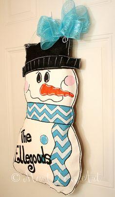 Chevron Snowman Christmas Burlap Door Hanger by MustLoveArtStudio, $35.00