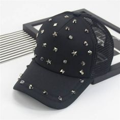 Black studded trucker cap casual baseball caps for teens summer wear
