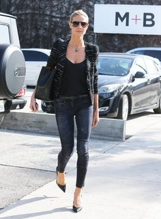 Heidi Klum wearing R13 Moto Jeans in Black Marble, Etoile Isabel Marant Glenn Striped Boucle Jacket and Isabel Marant Prissy Pumps
