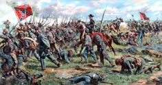 """""""Toward The Angle"""" - Collectible Limited Edition Fine Art Prints By Historical Civil War Artists Don Troiani The bloody angle is a Gettysburg Battlefield landmark of a copse of trees. On July - Visit to grab an amazing super hero shirt now on sale! Confederate States Of America, America Civil War, Confederate Flag, Military Art, Military History, Pickett's Charge, Gettysburg National Military Park, Gettysburg Battlefield, Civil War Art"""