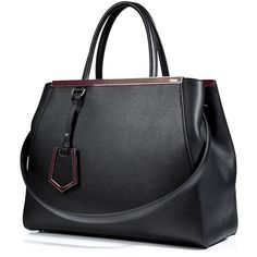 FENDI Leather 2Jours Tote in Black/Wine (£1,245) ❤ liked on Polyvore