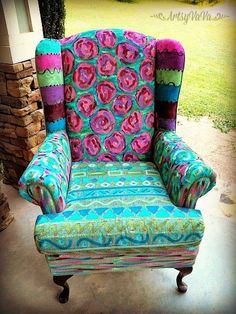 Hand painted wing chair by Artsy Va Va #PaintedChair