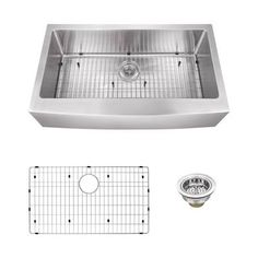 Magnus Sinks 33 inch x 20 inch 16 Gauge Stainless Steel Apron Front Single Bowl Kitchen Sink with Gooseneck Kitchen Faucet Pull Out Faucet, Pull Out Kitchen Faucet, Double Bowl Kitchen Sink, Farmhouse Sink Kitchen, Kitchen Sinks, Laundry Sinks, Kitchen White, Kitchen Paint, Stainless Steel Faucets