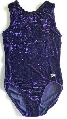GK ELITE Womens Velvet Sequined Leotard For Gymnastics Dance Ballet Sz L Purple