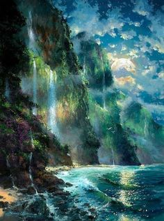 Fantasy landscape sea nature 18 Ideas for 2019 Fantasy Art Landscapes, Fantasy Artwork, Beautiful Landscapes, Fantasy Concept Art, Scenery Wallpaper, Nature Wallpaper, Abstract Landscape, Landscape Paintings, Acrylic Paintings