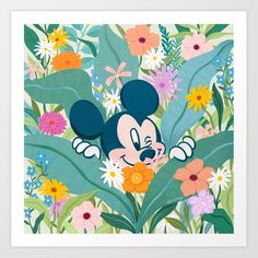 """""""Mickey Mouse in Flower Garden"""" by Sun Lee Art Print Set the tone of your room from the walls out—""""from the ground up"""" is so dated. Mix and match your favorite art prints on a gallery wall showcasing everything that makes your style unique. Art prints available in five sizes, from x-small to x-large Mickey Mouse Art, Disney Mickey, Tapestry Wall Hanging, Creative Art, Gallery Wall, Just For You, Art Prints, Wall Art"""