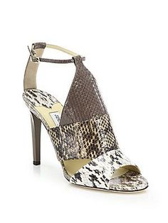 Jimmy Choo Timbus Colorblock Snakeskin Sandals - Natural - Size 35.5
