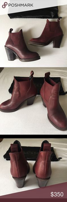 """women's acne studios star ankle boots, size 36 • Shaped waxed elastic • Chunky stacked leather heel • Center back pull tab • Leather with half rubber soul • Made in Italy  • Heel measures 105 mm/4.13"""" • Fits true to size, fits US Women's 6.5 European size 36 • Retail price $550  • Cherry red color  100% Calf Leather 100% Leather 100% Elastane Acne Shoes Ankle Boots & Booties"""